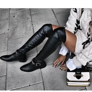 Zara Over The Knee Chain Detail  Faux Leather Boot